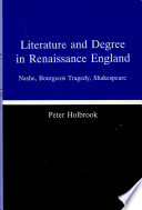 Literature and Degree in Renaissance England