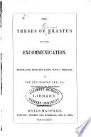 The Theses of Erastus Touching Excommunication