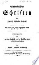 Hinterlassene Schriften von Friedrich Wilhelm Zachariä