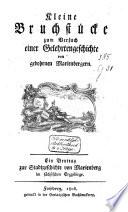 Kleine Bruchstücke zum Versuch einer Gelehrtengeschichte von gebohrnen Marienbergern