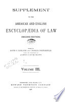 The American and English Encyclop  dia of Law