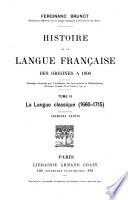 Histoire de la langue fran  aise des origines    1900