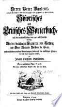 Historisches und kritisches Woerterbuch