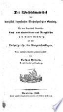 Die Wechselmatrikel des königlich bayerischen Wechselgerichtes Bamberg ... Nach amtlichen Quellen zusammengestellt von C. Burger