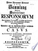 Johann Hieronymus Hermanns Sammlung allerhand Auserlesener Responsorum