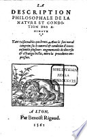 La description philosophale de la nature des animaux
