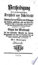 Vertheidigung der urspringlichen Freyheit und Immedietät des von den Herren Grafen von Dillingen und Kyberg gestifteten ... Gotteshaus Söflingen ...