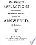 Dr  Burnett s Reflections Upon a Book  Entituled  Parliamentum Pacificum    the First Part   Answered  by the Author  i e  John Northleigh