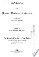 Vital Statistics of the Modern Woodmen of America for the Years 1883 1902  Inclusive