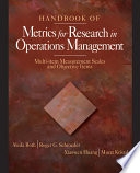 Handbook of Metrics for Research in Operations Management