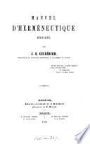 Manuel d'herméneutique biblique