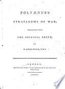 Strategems Of War Translated From The Original Greek By R Shepherd