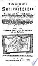 Anfangsgründe der Naturgeschichte ... Erster Theil. Algemeine Natur- und Tiergeschichte