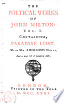 containing  Paradise lost  with Mr  Addison s notes
