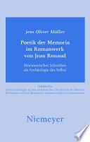 Poetik der Memoria im Romanwerk von Jean Rouaud