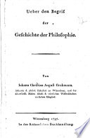 Ueber den Begrif der Geschichte der Philosophie