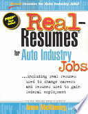 Real resumes for Auto Industry Jobs
