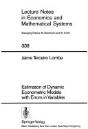 Estimation of dynamic econometric models with errors in variables