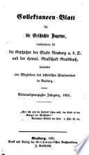 Kollectaneen-Blatt für die Geschichte Bayerns, insbesondere des ehemaligen Herzogtums Neuburg0