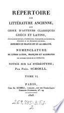 illustration Repertoire de litterature ancienne, ou choix d'auteurs classiques grecs et latins ... imprimes en France et en Allemagne