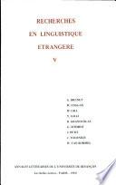 Recherches en linguistique étrangère