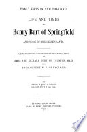 Life and times of Henry Burt of Springfield and some of his descendants