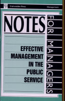 Effective Management In The Public Service
