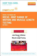 Joint Range Of Motion And Muscle Length Testing Pageburst Access Code