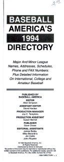 Baseball America s 1995 Directory
