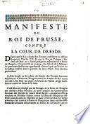 Manifeste du roi de Prusse contre la Cour de Dresde