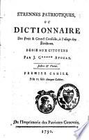 Etrennes patriotiques ou Dictionnaire des Petit & Grand Conseils, à l'usage des élections