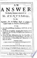 An Answer to sundry matters contain d in Mr  Hunt s Postscript to his Argument for the Bishops rights in judging in Capital Causes in Parliament  etc Book PDF