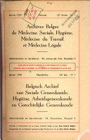 Archives belges de m  decine sociale  hygi  ne  m  decine du travail et m  decine l  gale