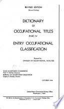 Dictionary Of Occupational Titles Entry Occupational Classification