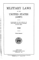 Military Laws of the United States  Army