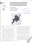 download ebook summer roost-tree selection by a male indiana bat on the fernow experimental forest pdf epub
