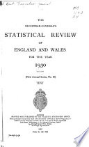 The Registrar General s Statistical Review of England and Wales