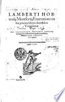 Lamberti Hortensij Montfortij Enarrationes in sex libros Aeneidos Vergilianae