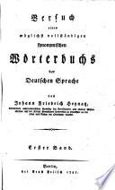 Versuch eines möglichst vollständigen synonymischen Wörterbuchs der deutschen Sprache