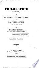 Philosophie De Kant Ou Principes Fondamentaux De La Philosophie Transcendentale