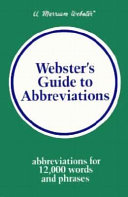 Webster s Guide to Abbreviations
