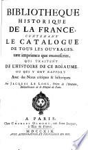 Bibliotheque historique de la France