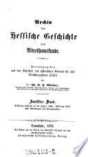 Archiv für hessische Geschichte und Altertumskunde