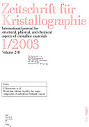 Zeitschrift F  r Kristallographie
