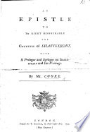 An Epistle to the Countess of Shaftesbury  with a prologue and epilogue on Shakespeare and his writings   In verse