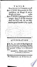 Memoires pour L Histoire des Sciences et des Beaux Arts