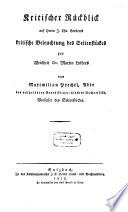 Kritischer Rückblick auf Herrn J. Chr. Berberts kritische Beleuchtung des Seitenstückes zur Weisheit Dr. Martin Luthers