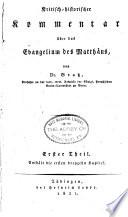 Kritisch-historischer Kommentar über das Evangelium des Matthäus