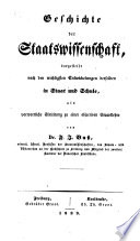Geschichte und System der Staatswissenschaft