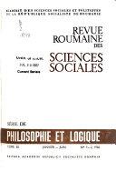 Revue Roumaine Des Sciences Sociales Série de philosophie et logique
